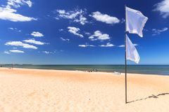 Sunny beach at Baltic Sea in Sopot. Poland Royalty Free Stock Photos