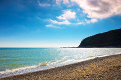 Sunny beach of Black Sea, Russia Stock Photo