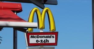 McDonalds Sign Open 24 Hours. Sunny Beach, Bulgaria - August 7, 2019: McDonald`s Restaurant Sign Open 24 Hours In Sunny Beach Slanchev Bryag, Bulgaria, Europe stock footage