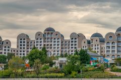 SUNNY BEACH, BULGARIA - 5 SEP 2018: Hotel Riu Helios Paradise at Sunny Beach resort on a sunny day in Bulgaria s Black Sea coast. Known for its water sports stock photography