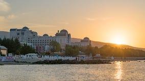 Sunny Beach, Bulgaria - 4 Sep 2018: Hotel Riu Helios Paradise in Sunny Beach at sunrise, a major seaside resort on the Black Sea. Coast of Bulgaria accomodation royalty free stock photos