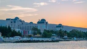 Sunny Beach, Bulgaria - 4 Sep 2018: Hotel Riu Helios Paradise in Sunny Beach at sunrise, a major seaside resort on the Black Sea. Coast of Bulgaria accomodation stock image
