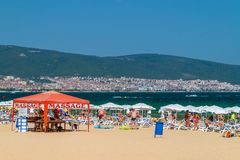 SUNNY BEACH, BULGARIA - 2 SEP 2018: A massage tent at beach in Sunny Beach, a resort on Bulgaria s Black Sea coast known for its royalty free stock images