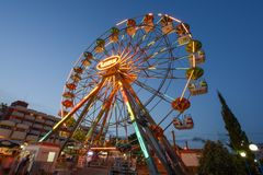 SUNNY BEACH, BULGARIA - September 09, 2017 Attraction in luna park. Ferris wheel in the evening Royalty Free Stock Images