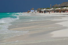 Sunny beach at Caribbean Sea. Nice view of Caribbean Sea and the beach of Cayo Largo del Sur Island stock photos