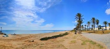 Sunny beach, Hammamet, Tunisia, Mediterranean Sea, Africa, HDR P Royalty Free Stock Photography
