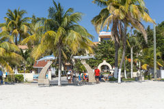 Sunny beach in Isla Mujeres, Mexico Royalty Free Stock Photography