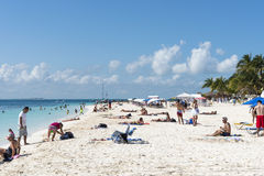 Sunny beach in Isla Mujeres, Mexico Stock Photos
