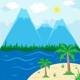 Sunny Beach Landscape - berg, vektorillustration, semesterperiodsommarbakgrund stock illustrationer