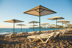 Sunny beach in the morning Royalty Free Stock Images