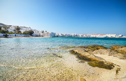 Sunny Beach in Mykonos Island, Greece. Royalty Free Stock Image