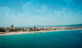 Sunny beach resort in Bulgaria. Sunny beach, major seaside resort on the Black Sea coast of Bulgaria Royalty Free Stock Image