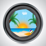 Sunny beach seen through camera lens Royalty Free Stock Photo