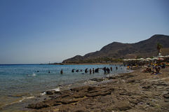 Sunny Beach. On the shores of the Red Sea in Eilat, Israel Royalty Free Stock Images