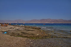Sunny Beach. On the shores of the Red Sea in Eilat, Israel Stock Image