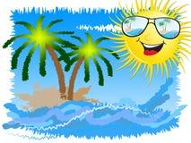 Sunny Beach Showing Summer At le bord de la mer illustration stock