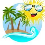 Sunny Beach Shows Summer At le bord de la mer illustration de vecteur