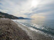 Sunny beach. At Sicily at Italy stock image