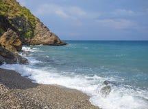 Sunny beach. At Sicily at Italy stock photos