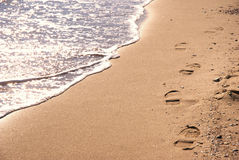 Sunny beach with steps. During winter Stock Image