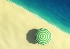Sunny beach with striped umbrella, top view Stock Photo