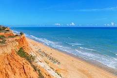 Sunny beach summer sea Albufeira in Portugal. For holiday enjoyment Stock Photography