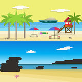 Sunny Beach for Summer Vocation.Flat Style Vector Illustration Stock Image