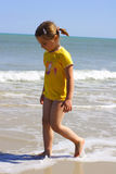 Sunny beach and sunny girl royalty free stock images