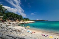 Sunny beach in Thassos island with tirkiz sea royalty free stock photography