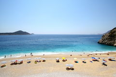 Sunny beach in Turkey Stock Photography