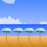 Sunny beach with umbrellas. Illustration of shoreline with umbrellas and the sea, with clouds in the sky Royalty Free Stock Image