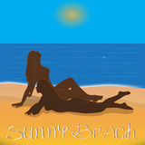 Sunny beach. Vector illustration of a girls sunbathing on the beach Royalty Free Stock Photography