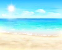 Sunny beach. Vector Illustration. stock photo