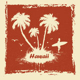 Sunny beach. Vector Sunny beach with palm surfer in Hawaii Royalty Free Stock Photo