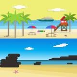 Sunny Beach voor de Zomerroeping Vlakke stijl vectorillustratie royalty-vrije illustratie