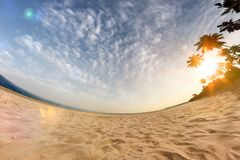 . Sunny beach wide angle. Sunny beach wide angle sea and blue sky stock photo