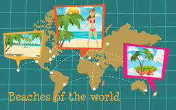 Sunny beaches on the world. Map. Pinned banners with landscapes royalty free illustration