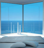 Sunny bedroom interior with seascape view. A 3d rendering of sunny bedroom interior with seascape view Stock Photo