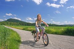 Sunny bicycling royalty free stock images