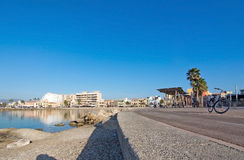 Sunny bike route along the Mediterranean Stock Image
