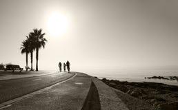 Sunny bike route along the Mediterranean Stock Photo