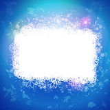 Sunny blue background with magic snow banner. Abstarct winter vector. Snowing label. Snoflakes frame for text message. Holidays banner and card design elements Stock Images