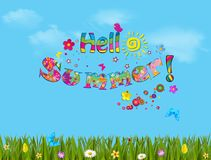 Sunny blue cloudy sky background with lettering Hello Summer. Butterflies flying above the grass and flowers, vector illustration, cartoon lettering Royalty Free Stock Images