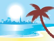 Sunny blue ocean landscape  illustration Stock Photography