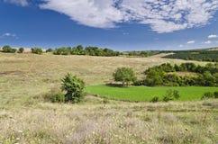 Sunny Blue Sky, prado e montes Foto de Stock