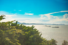 Sunny blue sky sea view look out Stock Image