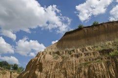 Sunny Blue Sky, soil and a hill near the city. Ruse royalty free stock photos