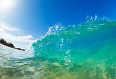 Sunny Blue Wave. Beautiful Sunny Blue Ocean Wave Stock Photo