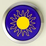 Sunny Button Means Hot Weather oder Sonnenschein Lizenzfreies Stockbild