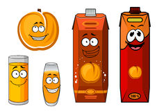Sunny cartoon peach juice characters. Sunny sweet peach juice cartoon characters with ripe orange peach fruit, bright juice packs and glasses with yellow Stock Images